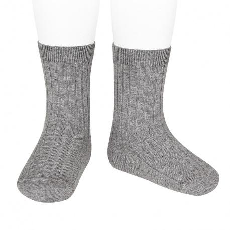 Chaussettes courtes côtelées basiques GRIS CLAIR
