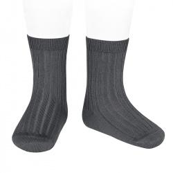 Basic rib short socks ANTHRACITE
