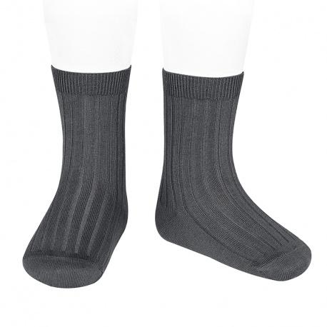 Chaussettes courtes côtelées basiques ANTHRACITE