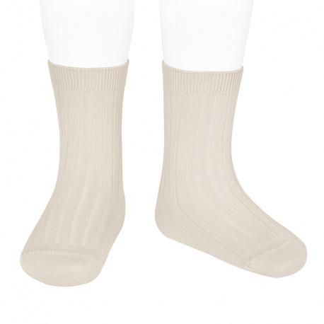Chaussettes courtes côtelées basiques LIN