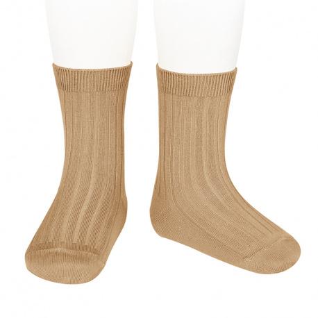 Basic rib short socks CAMEL