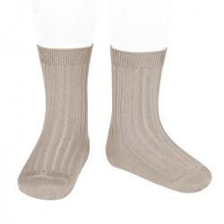 Basic rib short socks STONE