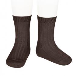 Basic rib short socks BROWN