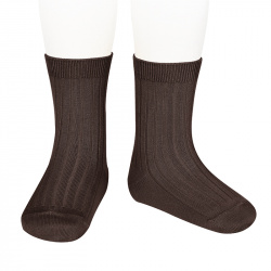 Chaussettes courtes côtelées basiques MARRON