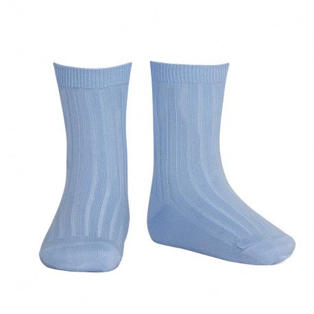 Chaussettes courtes côtelées basiques BLEUTE
