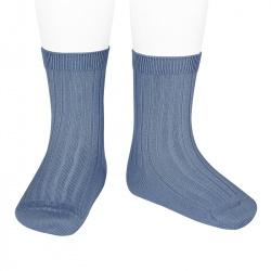 Chaussettes courtes côtelées basiques BLEU FRANCE