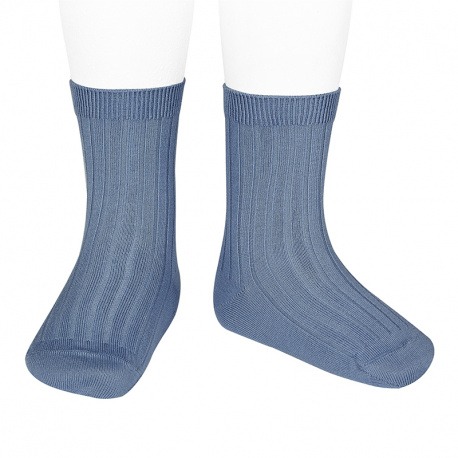 Calcetines básicos canalé AZUL FRANCIA