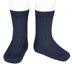 Chaussettes courtes côtelées basiques BLEU MARINE