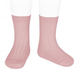 Basic rib short socks PALE PINK