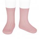 Chaussettes courtes côtelées basiques PALE ROSE