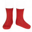 Basic rib short socks RED