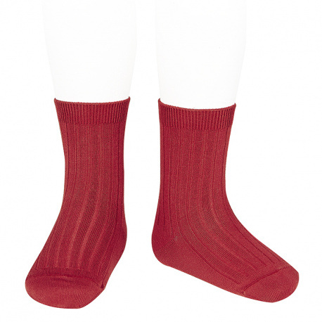 Basic rib short socks CHERRY