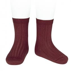 Chaussettes courtes côtelées basiques GRENAT