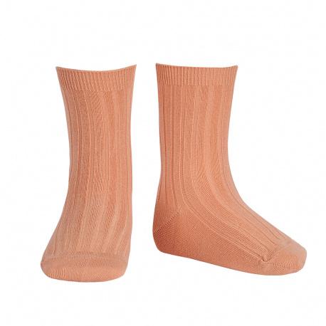 Basic rib short socks PEACH