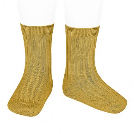 Chaussettes courtes côtelées basiques MOUTARDE
