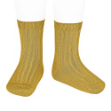Basic rib short socks MUSTARD