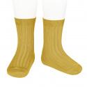 Chaussettes courtes côtelées basiques CURRY