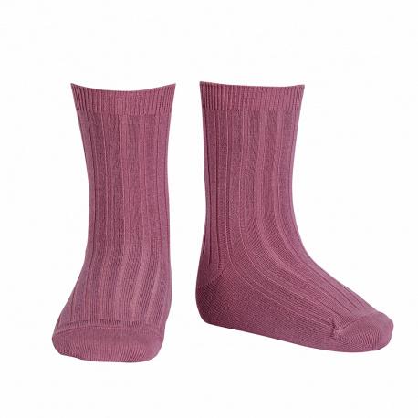 Chaussettes courtes côtelées basiques CASSIS