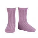 Chaussettes courtes côtelées basiques AMETHYSTE