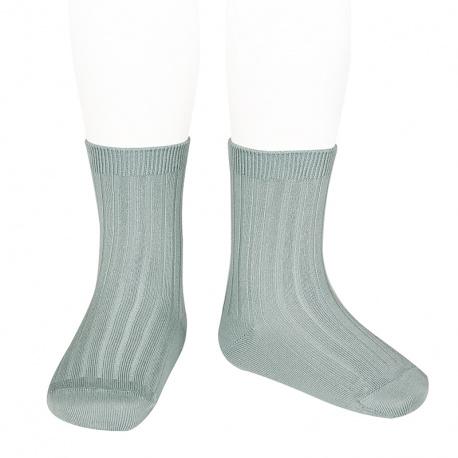 Chaussettes courtes côtelées basiques VERT SEC