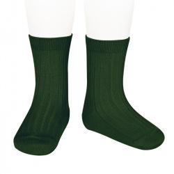 Chaussettes courtes côtelées basiques VERD BOUTEILLE