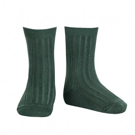 Basic rib short socks PINE