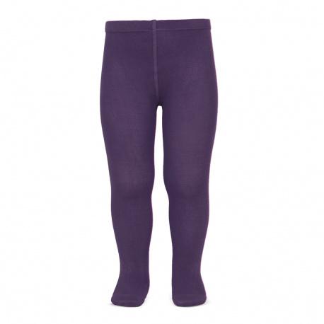 Plain stitch basic tights AUBERGINE