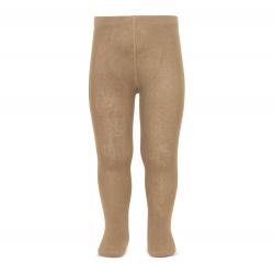 Plain stitch basic tights CAMEL