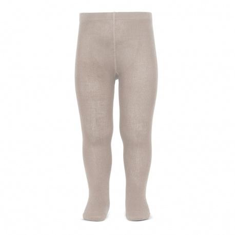 Plain stitch basic tights STONE