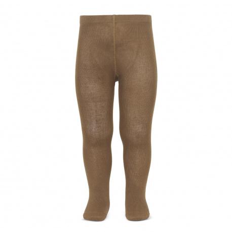 Plain stitch basic tights TOBACCO