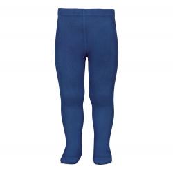 Plain stitch basic tights INDIGO BLUE