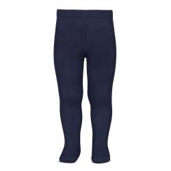 Plain stitch basic tights NAVY BLUE