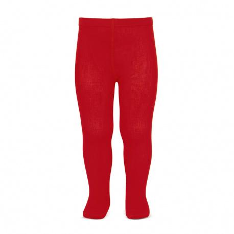 Plain stitch basic tights RED