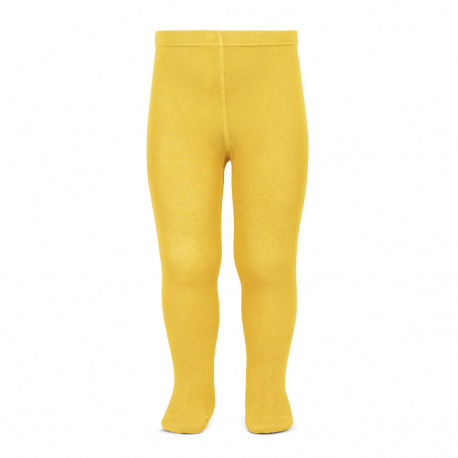 Plain stitch basic tights YELLOW
