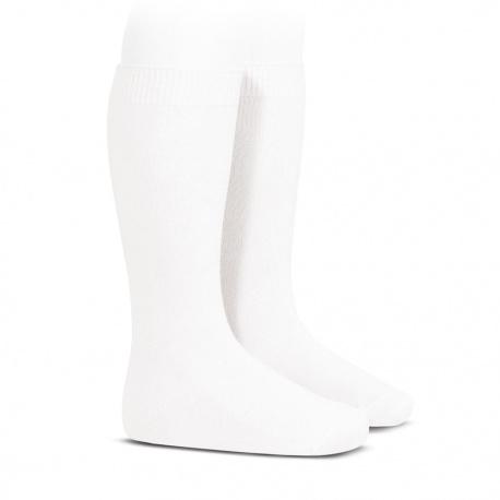 Plain stitch basic knee high socks WHITE
