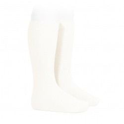 Plain stitch basic knee high socks CREAM