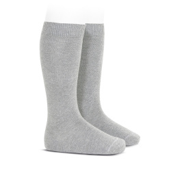 Plain stitch basic knee high socks ALUMINIUM