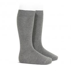 Chaussettes hautes basiques unies GRIS CLAIR