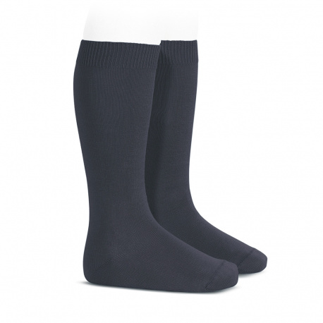 Plain stitch basic knee high socks COAL