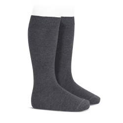 Plain stitch basic knee high socks ANTHRACITE