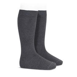 Chaussettes hautes basiques unies ANTHRACITE