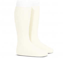 Plain stitch basic knee high socks BEIGE