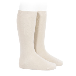 Plain stitch basic knee high socks LINEN
