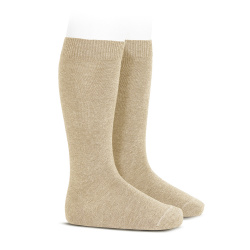 Plain stitch basic knee high socks NOUGAT