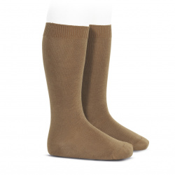 Plain stitch basic knee high socks TOBACCO