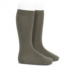 Plain stitch basic knee high socks MINK