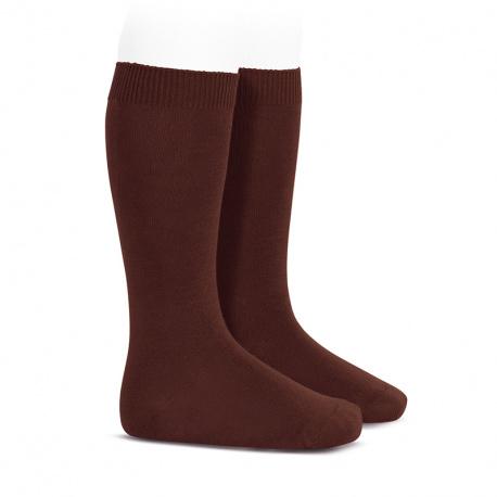 Plain stitch basic knee high socks CAULDRON