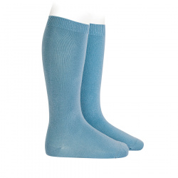 Plain stitch basic knee high socks CLOUD