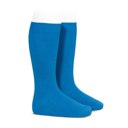 Plain stitch basic knee high socks ELECTRIC BLUE