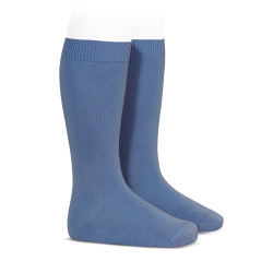 Calcetines altos básicos punto liso AZUL FRANCIA